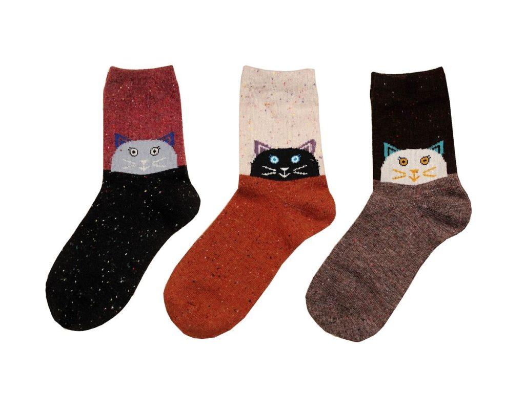 dárky pro milovníky koček, teplé kočičí ponožky